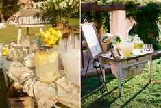Lemonade bar for wedding reception