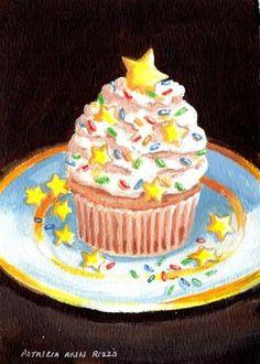 """Im a Star Cupcake"" - Original Fine Art for Sale - © Patricia Ann Rizzo http://www.dailypaintworks.com/fineart/patricia-ann-rizzo/im-a-star-cupcake/180460"