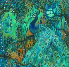 A gorgeous, colourful print of a proud peacock in a woodland setting with butterflies and a birdcage. This is an art print taken from my original acrylic painting. It is printed onto A4 archival paper with Epson archival inks. The print measures approx. 21 x 21cm square, 8 x 8 inches with a border for framing. It will be signed by the artist on the back and packaged well within a cellophane sleeve and stiff card. Thank you for visiting, have a lovely day