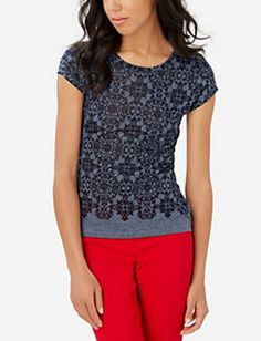 """I like the print and """"dressed up"""" style tee, but not the short sleeves."""