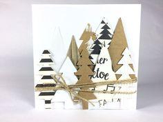 Trees Christmas Card  Kraft White Black Xmas Card
