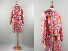 60s floral dress / vibrant color printed dress / floral Pucci style / short dress / swingin'london style /pink orange blue by MyLoftVintage on Etsy
