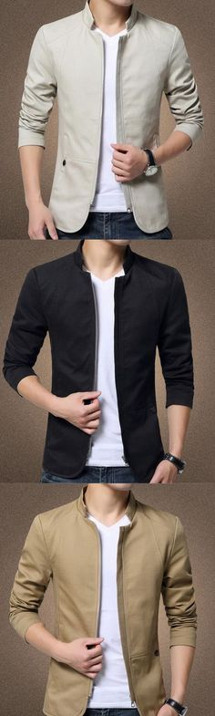 Men's Dailywear Date Contemporary Winter Solid Color Stand Long Sleeve Regular Jacket