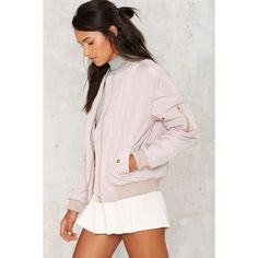 Glamorous Take Games Bomber Jacket ($88) ❤ liked on Polyvore featuring outerwear, jackets, blouson jacket, pink quilted jacket, flight jacket, zipper jacket and windcheater jacket
