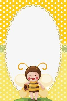 """Cute bees"": ""Honey Bee"" letter pad, designed by Abelhinha Bee Clipart, Frame Clipart, Moldes Para Baby Shower, Class Birthdays, Bee Pictures, Bee Free, School Frame, Kids Background, Cute Frames"