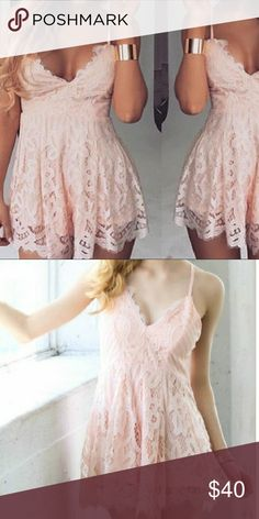 Peach Pink lace romper Very beautiful piece, with lace up tie back and spaghetti straps . I got it for myself but it was abit too big on top due to my cup size 32 A. Dresses Mini