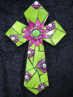 Mosaic pink and green cross