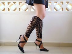 Crochet  laced up leg warmers, black sexy nude shoes, victorian lace, fishnet knee socks, steampunk. €28,00, via Etsy.