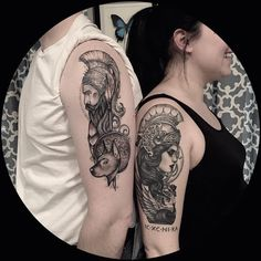 Ares and Athena apparently Good couple tattoos are hard to come by, definitely few and far between, but I'm actually super into this one. Except maybe Athens should be on the guy, and Ares the woman??