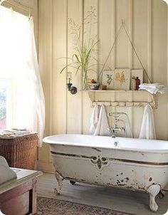 3214444921247183397535 vintage bathtub and beadboard walls in a texas hill country bathroom (photo by robin stubbert)....paint plain walls cream, position wooden slats same colour for the effect.