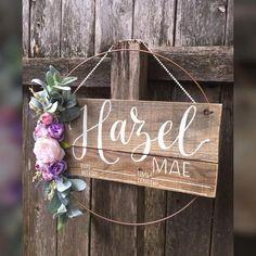 Baby Door Signs, Hospital Door Signs, Purple Nursery Decor, Pallet Backdrop, Birth Announcement Sign, Or Violet, Nursery Storage, Sign Display, Floral Hoops