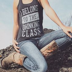 """""""I Belong to the Drinking Class"""" women's country festival tank top"""