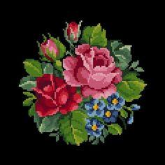 Vintage Roses Bouquet 4 Flowers Cross Stitch Pattern PDF | Etsy Cross Stitch Tree, Simple Cross Stitch, Cross Stitch Flowers, Cross Stitch Charts, Cross Stitch Designs, Cross Stitch Patterns, Cross Stitch Kits, Cross Stitching, Cross Stitch Embroidery