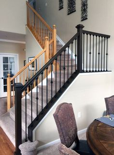 Antique Walnut Gel Stained Stairs - Home Decor Interior Stair Railing, Wrought Iron Stair Railing, Stair Banister, Stair Railing Design, Banisters, Rod Iron Railing, Banister Ideas, Metal Spindles Staircase, Stained Staircase