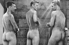 Three male vintage naked
