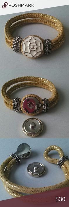 "Chanel Vintage Snap Button Bracelet Authentic Chanel Button handcrafted into a 18mm snap button. The button is cream and gold and will look fabulous on the gold glitter cloth bracelet. Will fit all your other 18mm snap jewelry and fits a 7 to 7 1/2"" wrist. Chanel Vintage Button Jewelry Bracelets"