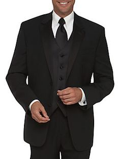 black suit for the groom and both fathers. black on black