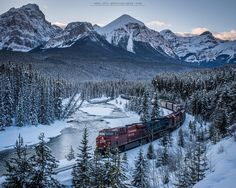 Classic Morants.  Morasts Curve just outside of Lake Louise is a photographers dream; the Bow River rolling through the valley the Canadian Pacific Railway showing up every hour and amazing mountain vistas in the background.  The last image I posted was a slightly longer exposure of a train rolling through and it created the appearance of a steel snake this one here is the classic shot. The red locomotive carrying the cargo train which probably has goods from all over the world through the…