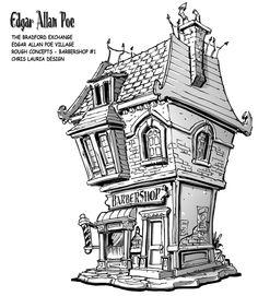 Edgar Allan Poe Village : Barbershop by toymaker-cl on DeviantArt Building Drawing, Building Sketch, Fantasy Castle, Fantasy Map, Architecture Drawing Sketchbooks, Box Frame Art, Easy Canvas Art, Interior Design Sketches, Tangle Art