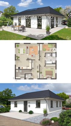 One Floor House Plans Bungalow Modern Architecture Design Contemporary European Style - BUNGALOW 92 Layout by Town & Country Haus - Dream Home Ideas, Inspiration Blueprint Drawing and Interior with Ki One Floor House Plans, Bungalow House Plans, Dream House Plans, Small House Plans, One Bedroom House Plans, Modern Bungalow House Design, Square House Plans, Guest House Plans, Town Country Haus