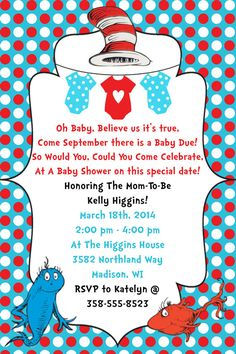 Dr. Seuss Baby Shower Invitation Digital File by WorldOfThought
