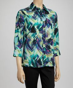 Another great find on #zulily! Turquoise & Blue Watercolor Button-Up by Matisse #zulilyfinds