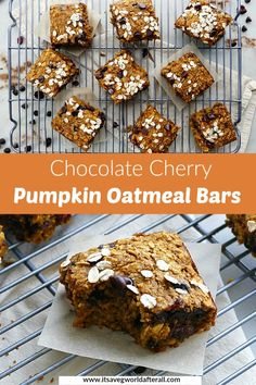 These chewy Pumpkin Oatmeal Bars are great for breakfast, a snack, or dessert. They're studded with dried cherries and chocolate chips, loaded with fiber, and are free of gluten and dairy. Veggie Recipes Healthy, Savory Pumpkin Recipes, Veggie Snacks, Healthy Pumpkin, Healthy Dessert Recipes, Vegan Desserts, Vegetable Recipes, Cookie Recipes, Pumpkin Custard