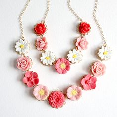 Mommy and Me Rosy Pinks Flower Necklaces, Easter, Mothers Day, Flower Girl gift via Etsy