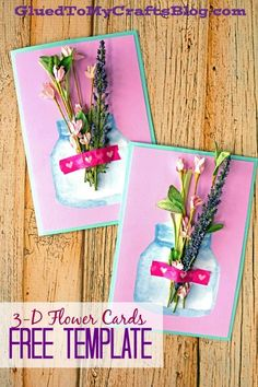 Mother's Day Flowers In Mason Jar – Printable Card Idea - Kid Craft Tutorial - Free Template Included! Mothers Day Crafts For Kids, Mothers Day Cards, Easy Crafts For Kids, Crafts Cheap, Mason Jar Cards, Mason Jar Diy, Jar Crafts, Easter Crafts, D Flowers
