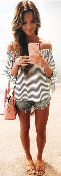 #summer #trendy #outfits | Stripes + Denim