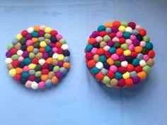 FeltNepal Multi-color Felt Ball Trivet, 20 cm Round, $34.99 for 6 Piece  #Handmade