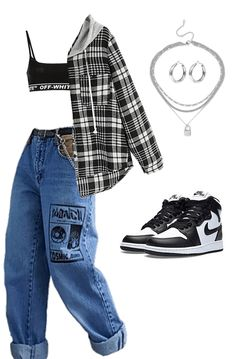 Adrette Outfits, Baddie Outfits Casual, Cute Swag Outfits, Cute Comfy Outfits, Teen Fashion Outfits, Retro Outfits, Grunge Outfits, Stylish Outfits, Polyvore Outfits Casual