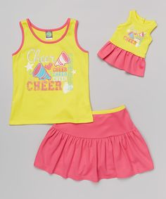 Loving this Dollie & Me Yellow & Pink 'Cheer' Tank Set & Doll Outfit - Kids on #zulily! #zulilyfinds