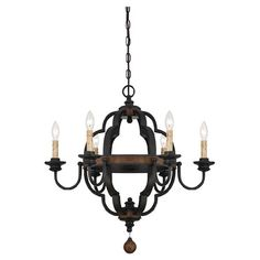 Showcasing a bronze finish and rustic-inspired design, this 6-light chandelier casts a warm glow over your entryway or dining room.