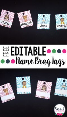 Such a cute way to start the year in your classroom with brag tags. This freebie includes editable brag tags in 4 different styles to be used as a nametag for the first tag on your students' necklaces. by annak Classroom Labels, Classroom Freebies, Classroom Behavior, Kindergarten Classroom, School Classroom, Classroom Organization, Classroom Management, Behavior Management, Classroom Ideas