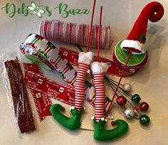 Elmer the Elf Christmas Wreath DIY - Debbee's Buzz - elf-Christmas-wreath-DIY-supplies - Elf Christmas Tree, Elf Christmas Decorations, Christmas Mesh Wreaths, Christmas Tree Design, Christmas Centerpieces, Christmas Projects, Magical Christmas, Winter Wreaths, Spring Wreaths