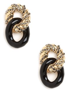 These gorgeous earrings are Old World glamorous — they're sophisticated, posh and just plain stylish. Plus, we love the two tiers of chains, one coated in glossy enamel, the other sprinkled with pavé finery.