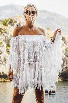 bccac6f455f lace of shoulder dress Alessandra with embellishment & frayed hem –  OutDazl Short Dresses,