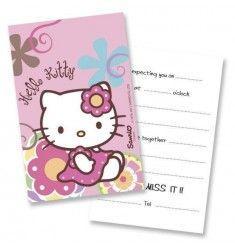 6 Invitations anniversaire Hello Kitty parme