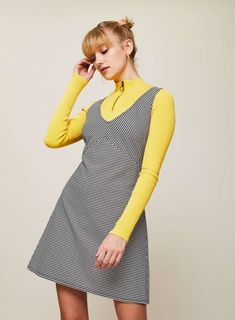 PETITE Dogtooth Pinny Dress - Clothing - New In - Miss Selfridge