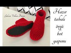 Knitted Slippers, Knitted Bags, Crochet Video, Crochet Slipper Pattern, Knit Shoes, Baby Sandals, Bargello, Felt Flowers, Flower Necklace