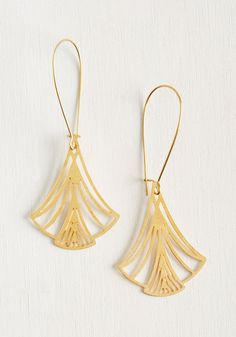 Every Maidenhair in Place Earrings. You forge a perfectly polished path to botanical style by wearing these golden earrings from Beijo Brasil! #gold #modcloth
