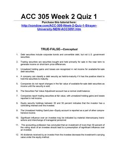 Acc 305 week 2 quiz 1 strayer university new  ACC 305 Week 2 Quiz 1 Purchase this tutorial here: http://xondow.com/ACC-305-Week-2-Quiz-1-Strayer-University-NEW-ACC3051.htm      TRUE-FALSE—Conceptual  1.Debt securities include corporate bonds and convertible debt, but not U.S. government securities.  2.Trading securities are securities bought and held primarily for sale in the near term to generate income on short-term price differences.  3.Unrealized holding gains and losses are…