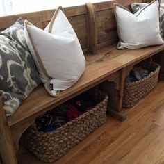 pew bench with baskets for shoes!