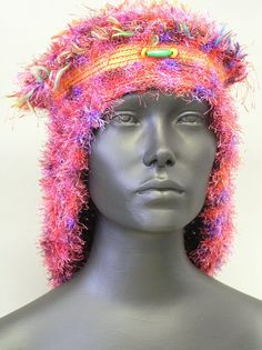 Fuzzy Pink & Purple Crochet Hat... by FunkyMagicalHats on Etsy, $80.00