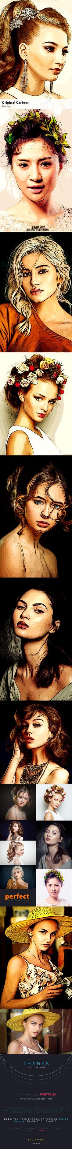 Original Cartoon Painting — Photoshop ATN #b&w #portrait watercolor • Available here → https://graphicriver.net/item/original-cartoon-painting/19919273?ref=pxcr