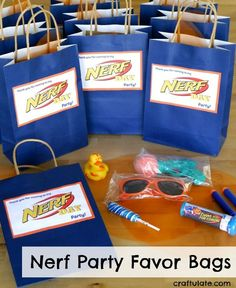Nerf Party Favor Bags - suitable for younger children. Birthday party treat bag ideas!