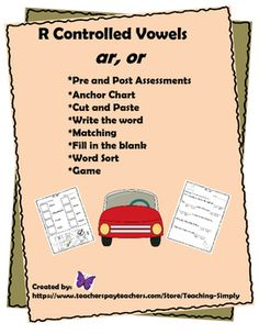 This product gives students plenty of practice with ar and or.  Picture clues and words help students to understand and remember these r controlled vowels.