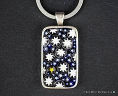 Stary Night  Millefiori Mosaic Keychain  Wearable by CherieBosela