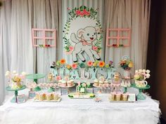 Pretty dessert table at a Mary had a little lamb birthday party! See more party ideas at CatchMyParty.com!